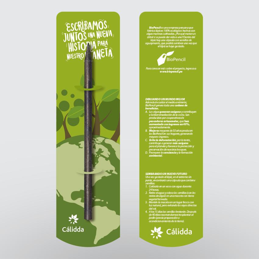 Cálidda. Empaque para lápiz ecológico.